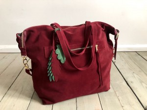Simple Large Bag Maroon Suede