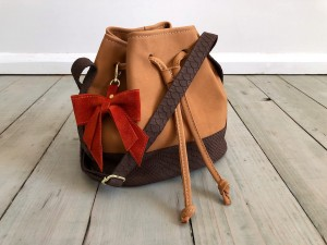 Mini Bucket Bag Honey Nubuck + Croco