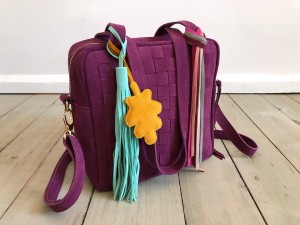 Braided Mini Square Bag Plum Suede