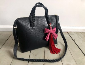 Bingle Bag Braided Straps Black Croco
