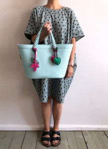 Beach Basket Leather Bag Mint