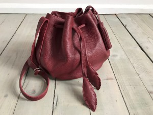 Little Bucket Feathers Bag Claret