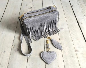 Frędzlotorebka Fringe Grey Heart & Feather