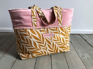 Boho Beach Bag Pale Pink + Mustard Ready to Go!