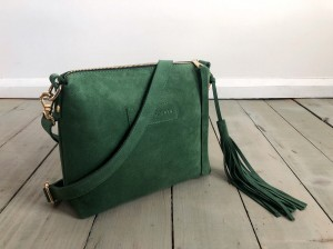 Mini Single Leather Bag Dark Pastel Green Suede
