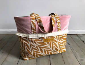 Boho Beach Bag Pale Pink + Mustard