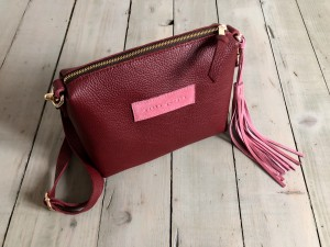 Mini Single Leather Bag Maroon + Rose