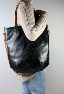 Mass Bag Leather Black + Caramel