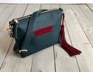 Mini Single Leather Bag Dark Green + Maroon Plus