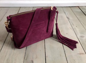 Mini Single Leather Bag Plum Suede