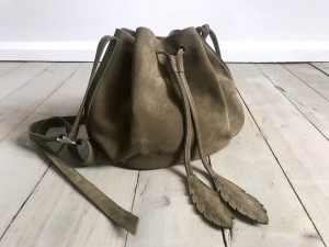 Little Bucket Feathers Bag Nubuck Khaki
