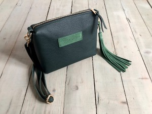 Mini Single Leather Bag Dark Green + Green + Pastel Green Suede