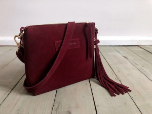 Mini Single Leather Bag Maroon Suede