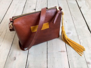 Mini Single Leather Bag Mont Blanc Dark + Mustard Suede Ready to Go!
