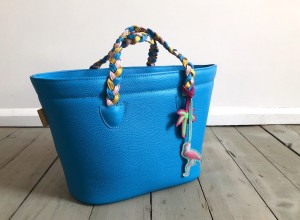 Beach Basket Leather Bag Azure Blue