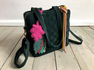 Braided Mini Square Bag Dark Emerald Suede Ready to Go!