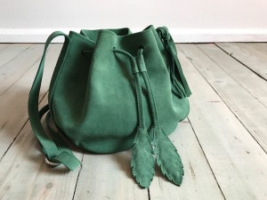 Little Bucket Feathers Bag Dark Green Pastel Suede