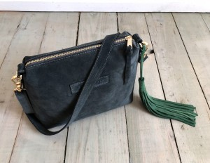 Mini Single Leather Bag Graphite Suede Plus