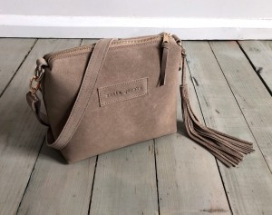 Mini Single Leather Bag Plus Beige Suede