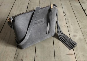 Mini Single Leather Bag Grey Suede